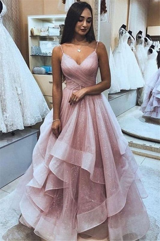 Glamorous Pink Spaghetti-Straps  Tulle Ruffle Prom Dresses