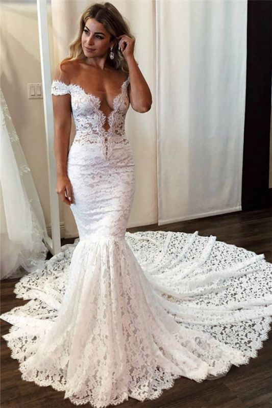 Latest Lace Off The Shoulder Sexy Wedding Dresses |  Mermaid Sleeveless Cheap Bridal Gowns