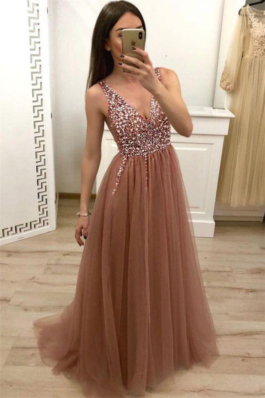 Straps V-Neck Appliques Sleeveless A-Line Prom Dresses