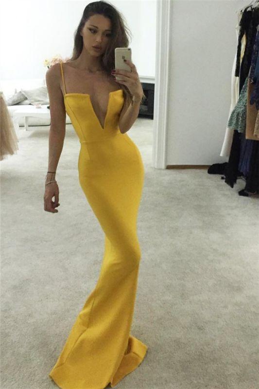 Yellow Spaghetti-Straps V-Neck Sleeveless Mermaid Prom Dresses