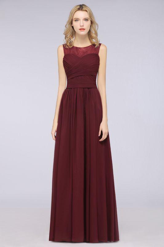 Elegant Princess Chiffon Tulle Lace Scoop Sleeveless Floor-Length Bridesmaid Dress with Ruffle
