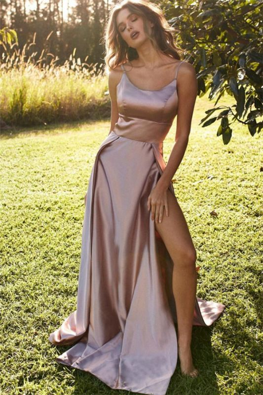 Sexy Spaghetti-Straps Side-Slit Sleeveless A-Line Prom Dresses
