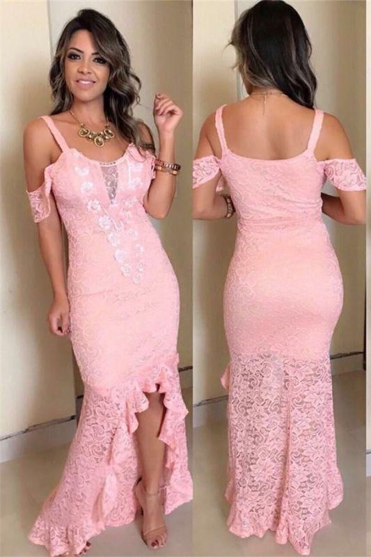 Pink Lace Appliques Off-The-Shoulder Hi-Lo Mermaid Prom Dresses