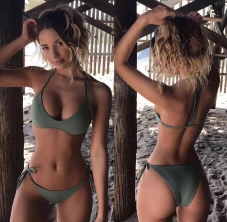 Sexy Scoop Halter Bandage Bikini Set