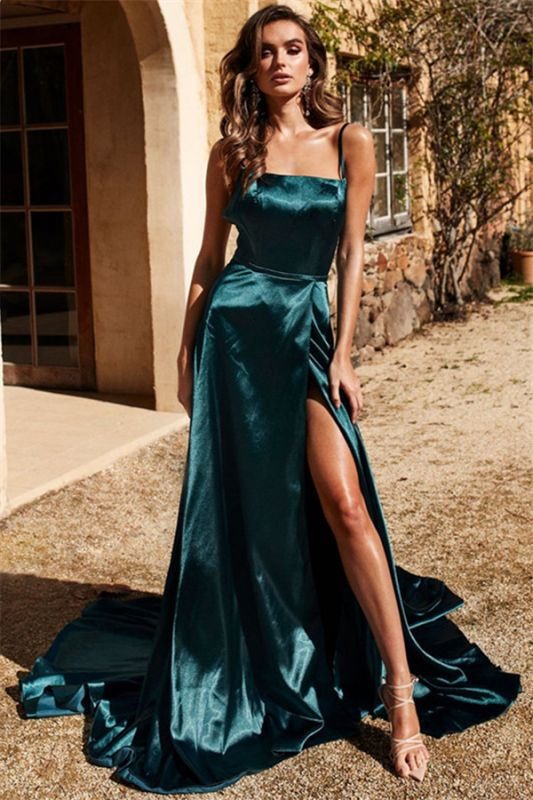 Dark Green Spaghetti-Straps Side-Slit A-Line Evening Dresses