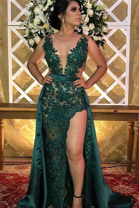Green Straps Appliques Side-Slit Sleeveless A-Line Prom Dress