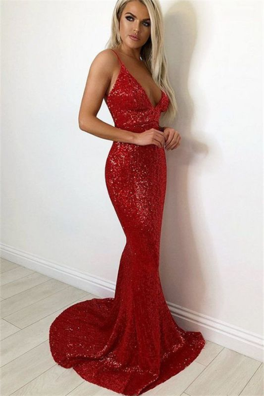 Sexy Sequins Spaghetti-Straps Sleeveless Mermaid Evening Dresses
