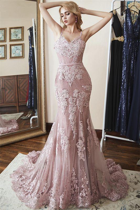 Glamorous Spaghetti-Straps Appliques Tulle Mermaid Prom Dresses