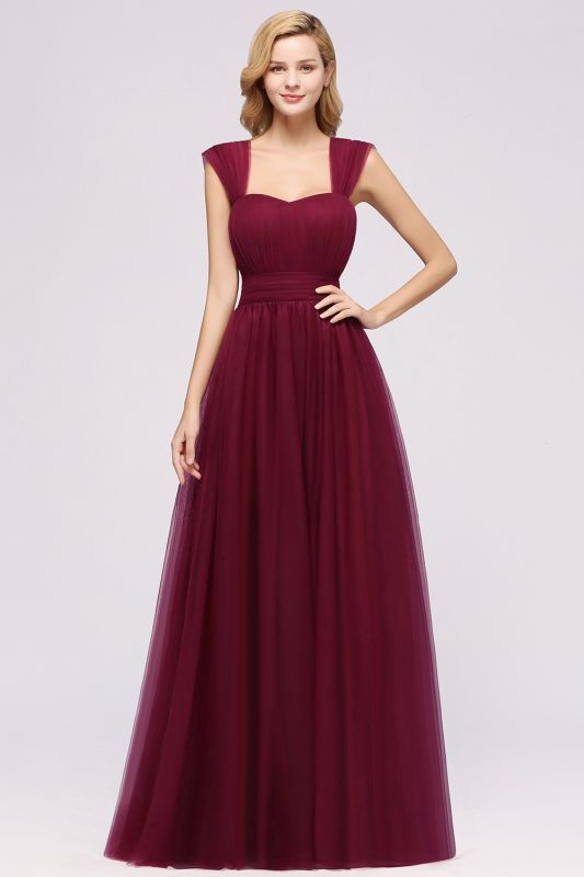 Chiffon Sweetheart Straps Sleeves Floor-Length Bridesmaid Dresses with Ruffles
