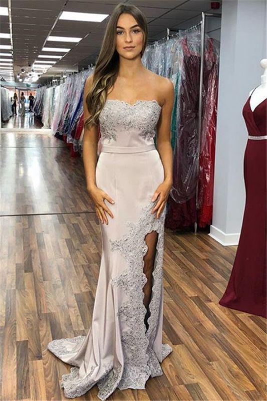 Elegant Strapless Appliques Sleeveless Side-Slit Mermaid Prom Dresses