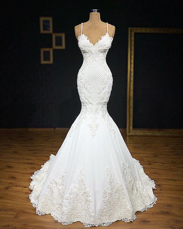 Elegant Spaghetti Straps Appliques Cheap Sexy Sleeveless Mermaid Wedding Dresses