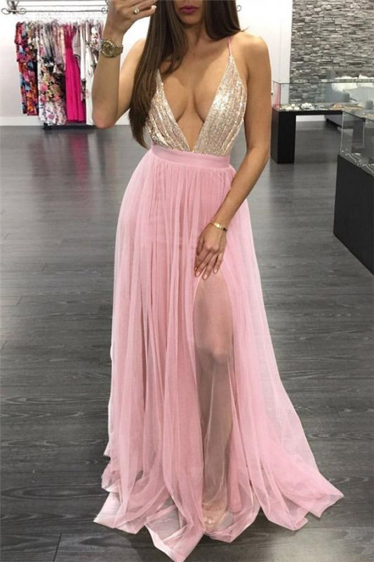 Pink Spaghetti-Strpas Deep V-Neck Backless A-Line Prom Dresses