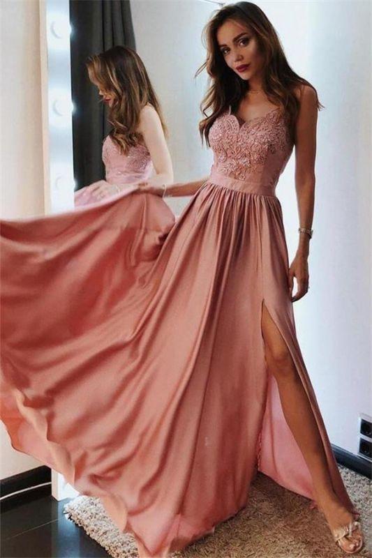Appliques Spaghetti-Straps Sleeveless Side-Slit A-Line Prom Dresses