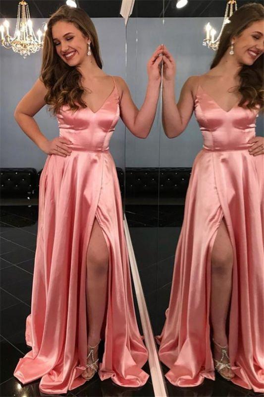 Pink Spaghetti-Straps Sleeveless Side-Slit A-Line Prom Dresses