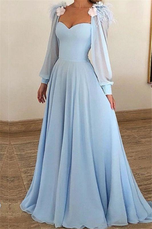 Blue Flower Appliques Fur Sleeveless A-Line Prom Dresses
