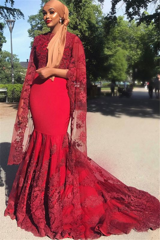 Burgundy Lace Appliques Jewel Neck Long Sleeves Mermaid Prom Dress