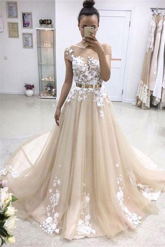 Elegant Jewel Appliques Sleeveless Tulle A-Line Prom Dresses