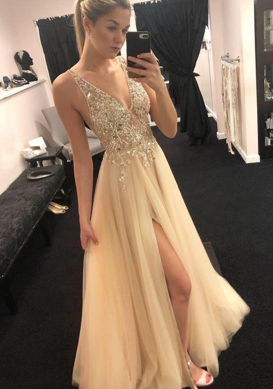 Elegant Straps V-Neck Side-Slit Sleeveless A-Line Evening Dresses