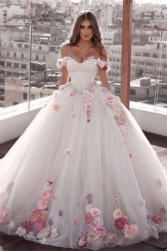 Gorgeous Off The Shoulder Flowers Bridal Gowns | Cheap Fluffy Tulle Ball Gown Wedding Dresses