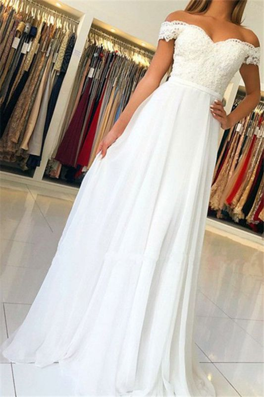 Simple Sexy Off The Shoulder Appliques A-Line Chiffon Cheap Wedding Dresses