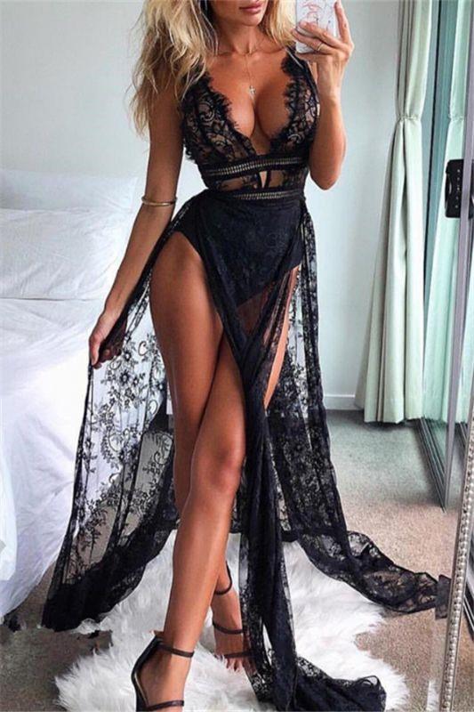 Sexy Black Straps Lace Sleeveless Side-Slit Mermaid Prom Dresses