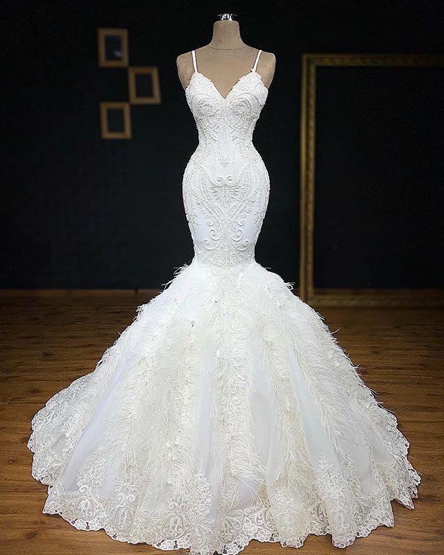 Gorgeous Spaghetti Straps Feather Appliques Mermaid Wedding Dresses Cheap Online
