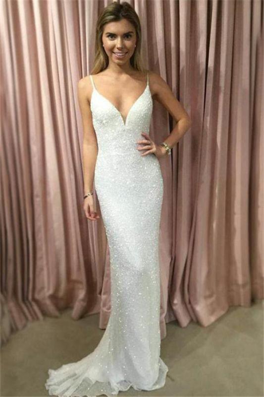 Glamorous Spaghetti-Strpas Sleeveless Mermaid Prom Dresses