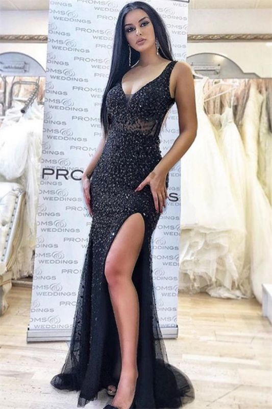 Elegant Black Appliques Straps Sleeveless Side-Slit Mermaid Prom Dresses