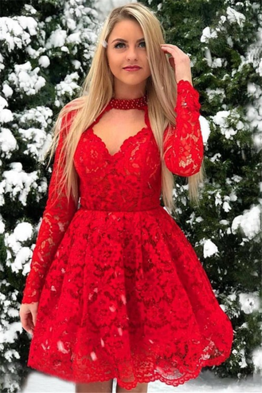 Red Lace Long-Sleeves A-Line Short-Length Homecoming Dresses