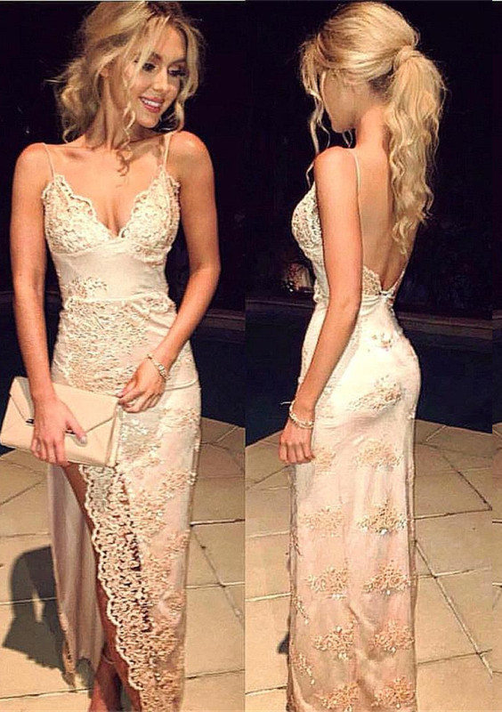 Sweetheart Sheath Side-Slit Straps Lace Spaghettis Evening Gowns LY02