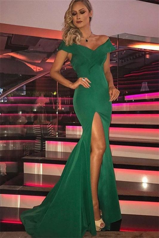 Green Off-The-Shoulder Sleeveless Side-Slit Mermaid Evening Dresses
