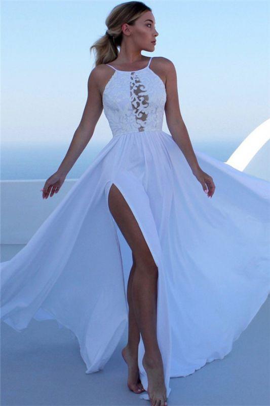 Elegant Appliques Halter Sleeveless Side-Slit A-Line Prom Dresses