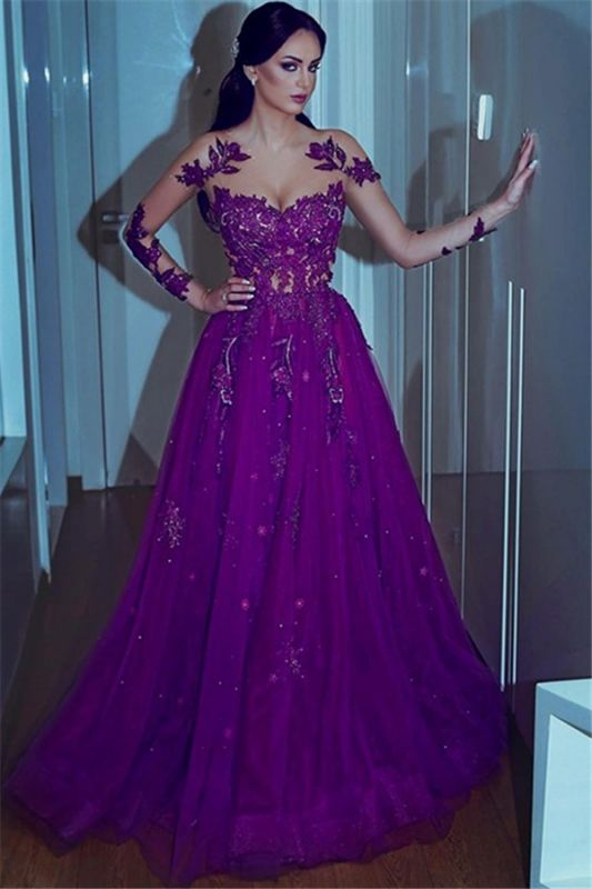 Gorgeous Purple Lace Appliques Long-Sleeves Tulle A-Line Prom Dresses