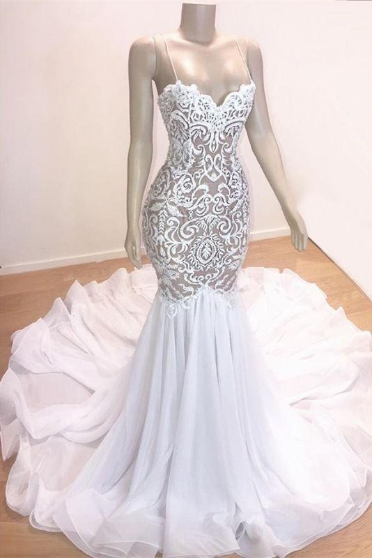 Gorgeous Appliques Spaghetti Straps Sleeveless Mermaid Prom Dresses Cheap