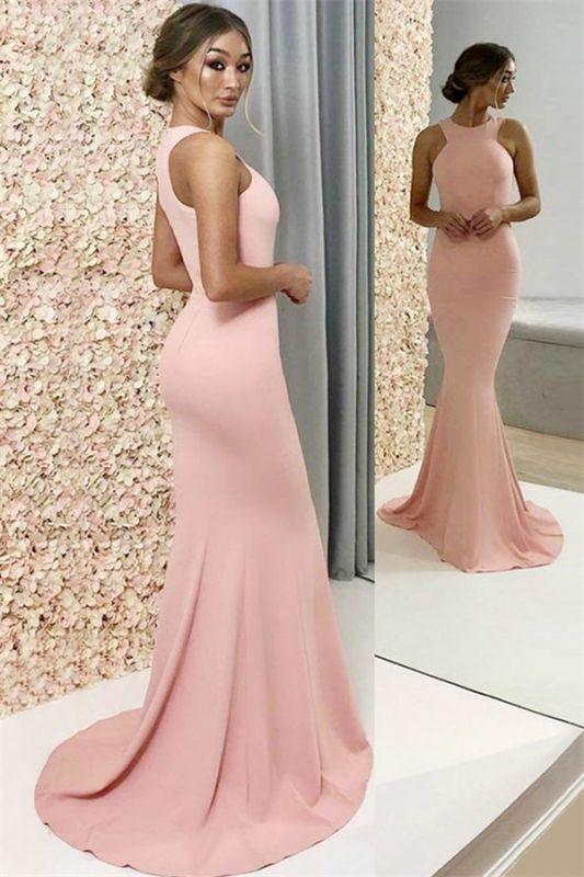 2021 New Arrival Pink Halter Sleeveless Mermaid Prom Dresses