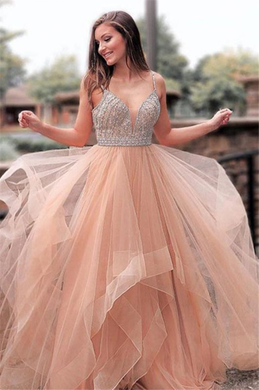 Elegant Appliques Spaghetti-Straps Tulle A-Line Prom Dresses