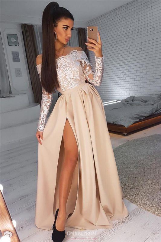 Off-The-Shoulder Long Sleeves Side-Slit A-Line Evening Dresses