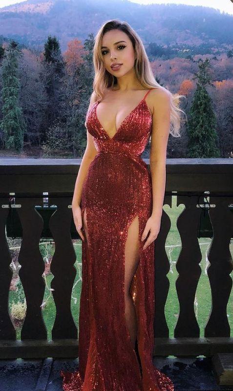 Glamorous Sequins Spaghetti-Straps V-Neck Side-Slit Mermaid Prom Dresses
