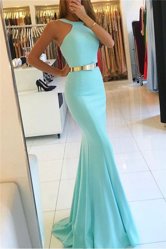 New Arrival Halter Sleeveless Mermaid Prom Dresses With Sash