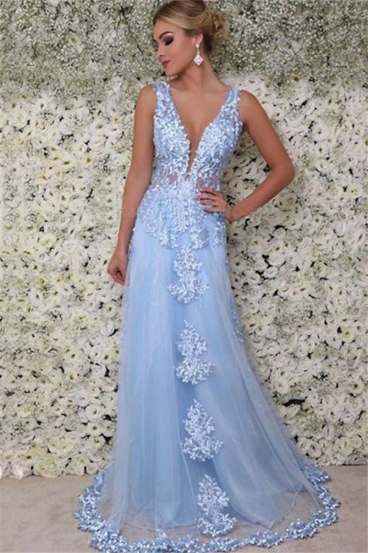 Blue Straps Appliques Sleeveless Tulle A-Line Prom Dresses