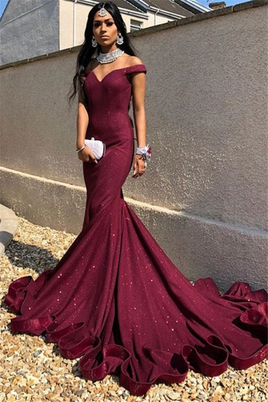 Gorgeous Off-The-Shoulder Sleeveless Mermaid Prom Dresses