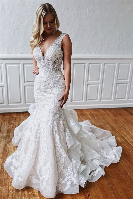 Classic Mermaid Ruffles Lace Wedding Dresses | V-neck Sleeveless Bridal Gowns Cheap Online