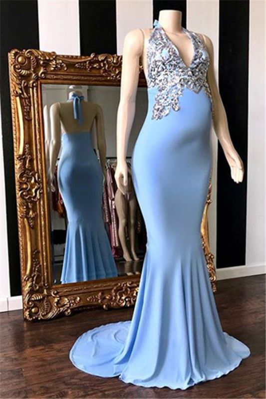 Blue Halter Appliques Sleeveless Pregnant Mermaid Prom Dresses