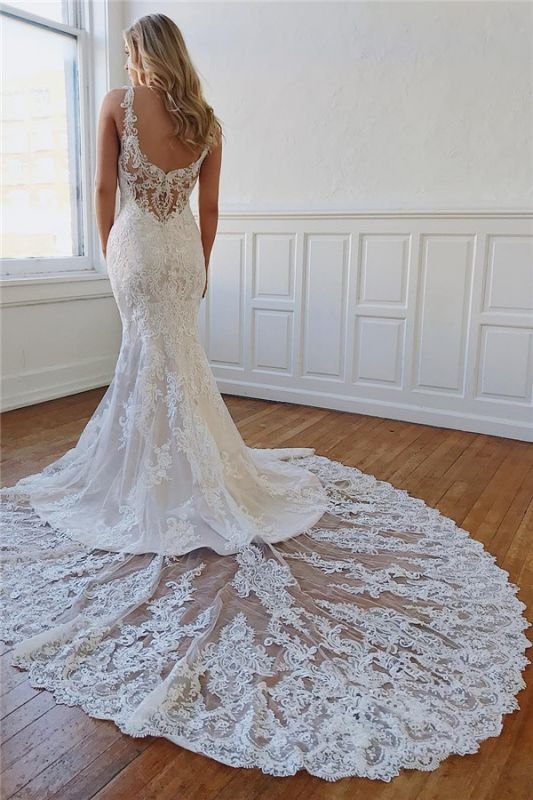 Modern Open Back Mermaid Bridal Gowns Online | Cheap Lace Wedding Dresses for Brides