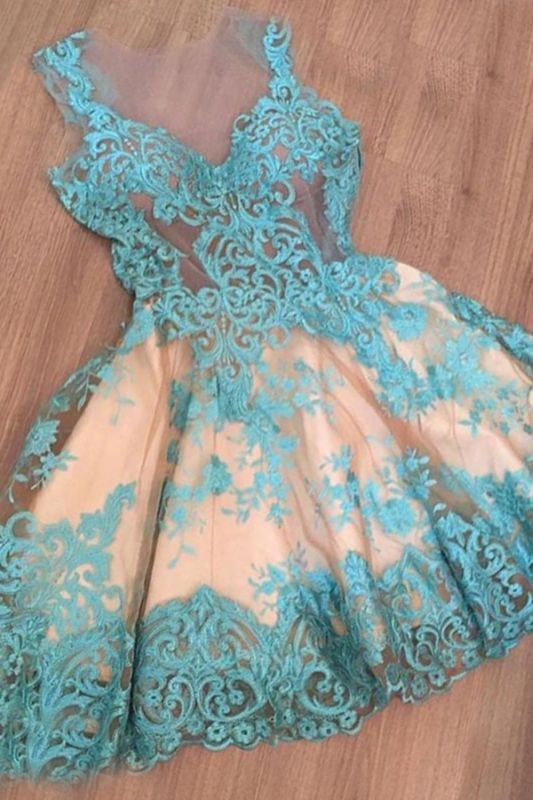 Custom Made A-line Appliques New Arrival Tulle Sleeveless Sexy Short Homecoming Dresses