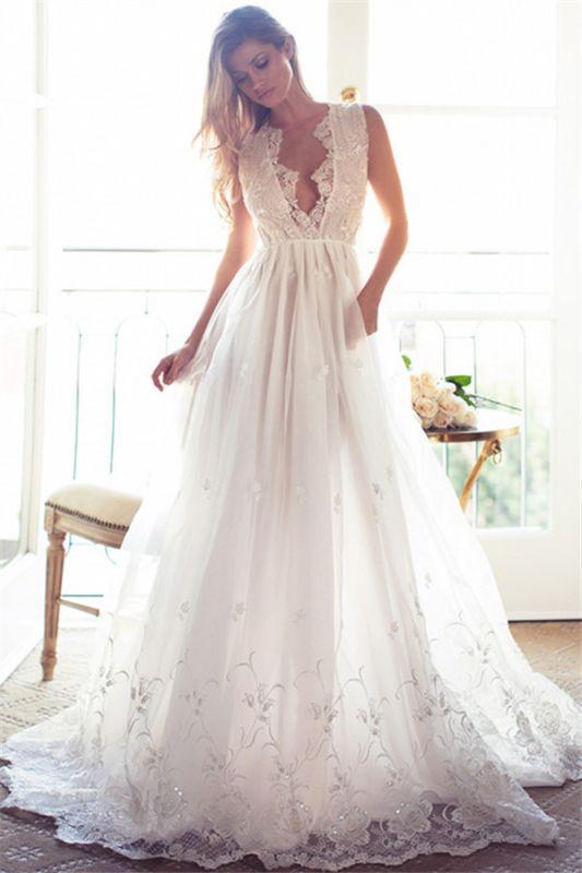 A-Line Sleeveless Gorgeous Princess Lace Custom Made V-Neck Wedding Dresses Cheap