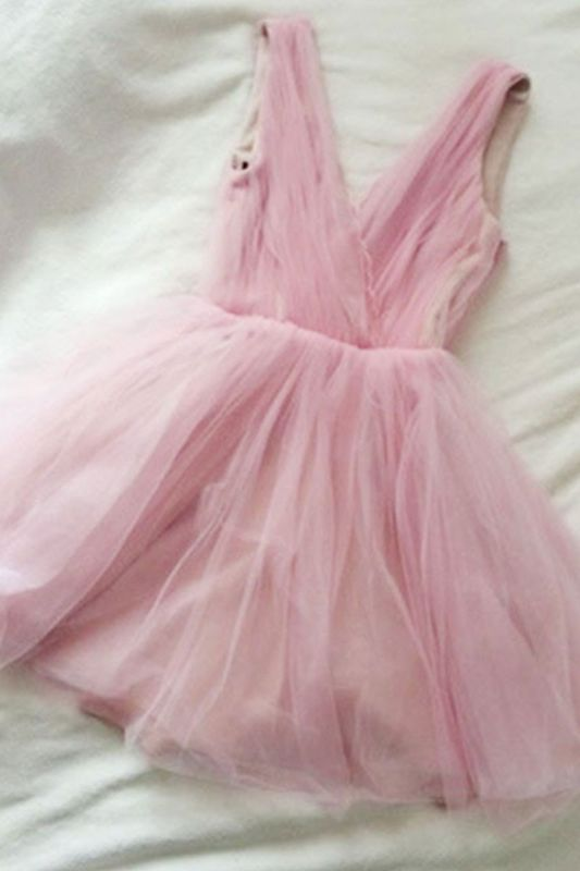 V-neck Cute Tulle Pink Simple Sexy Short Homecoming Dresses