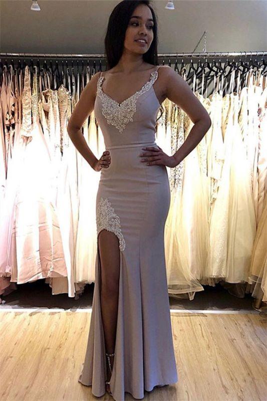 Elegant Spaghetti-Straps Appliques Side-Slit Mermaid Prom Dresses