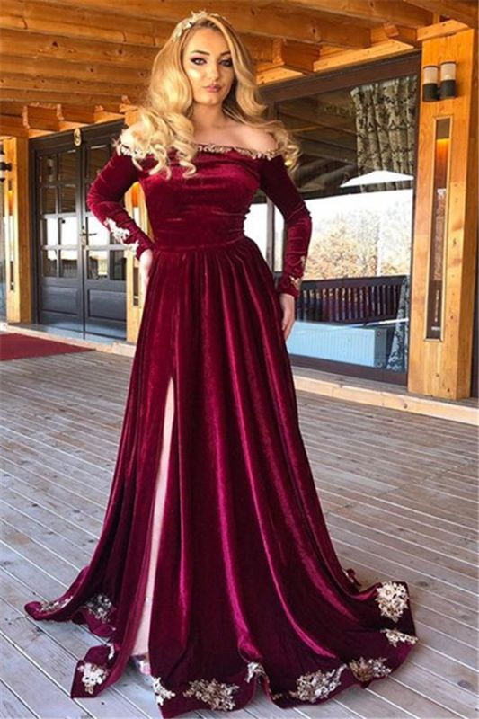 Burgundy Off-The-Shoulder Velvet Long Sleeves Evening Dresses