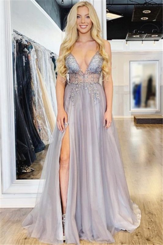 Glamorous Spaghetti-Straps Appliques Side-Slit Prom Dresses